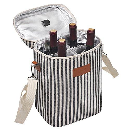 Kato Tirrinia Isolierte Weinkühltasche, 4 Flaschen Kühltasche Weintasche Reisenthel Getraenketaschen mit Griff und Verstellbarem Schultergurt, Geschenk für Weinliebhaber für Picknick, Party, Strand