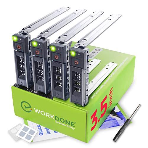 WorkDone - Juego de 4 cajas para disco duro de 3,5 pulgadas (compatible con servidores Dell PowerEdge listados, con manual de instalación detallado, etiquetas adhesivas frontales con trineo, destornillador, tornillos para bandeja adicionales)