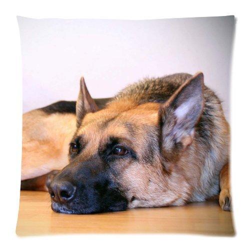 Wholesale Soft Cotton Pillowcase Print Cute Pet Doggy German Shepherd Dog Diy Decorative Cushion Covers 2 Sides 18 X 18-4