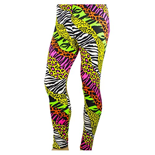 Men's 80's Heavy Metal Pants Neon Rainbow Animal Print (Large (36-38))