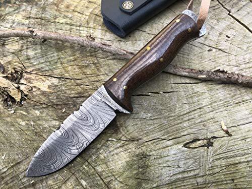 Perkin Cuchillo de Supervivencia, Caza y bushcraft Warfare Cuchillo Caza Damasco SK1300