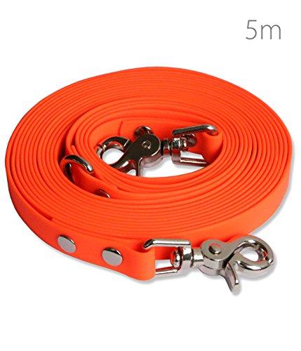 SNOOT Schleppleine 5m - Neon-Orange - zugfeste, schmutz- und Wasserabweisende Hundeleine mit Zwei Karabinern