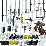 ZCXX 56St. Ritter Helm, Ritter Weste und Custom Waffen Set für Ritter Mini Figuren SWAT Team Polizei, kompatibel mit Lego