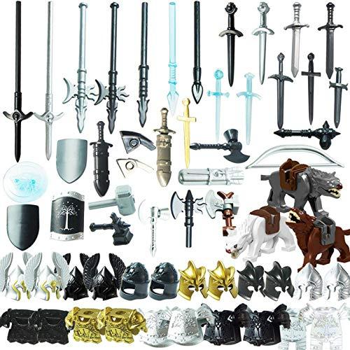 MBKE 56 pcs Juego de Accesorios de Arma Personalizados para Casco de Soldado Militar Caballero y Juego de Arma de Espada, Compatible con Lego