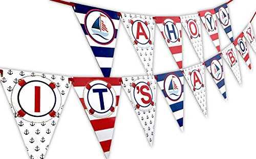 Ahoy Its A Boy Nautical Baby Shower Banner Pennant