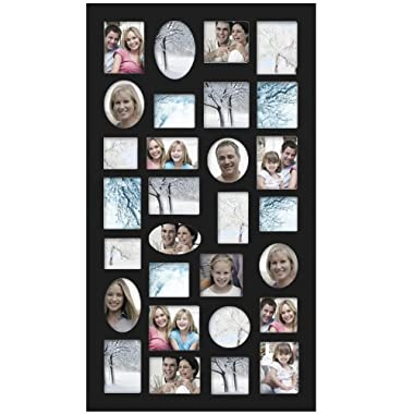 Adeco [PF9105] Decorative Black Wood Wall Hanging Collage Picture Photo Frame, 29 Openings, Various Sizes between 3.25x2.75  and 4.5x4 ; Square, circular, oval and rectangular openings