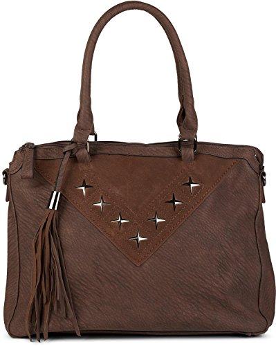 styleBREAKER Shopper Tasche mit Metall-Cutout in Stern Form und Quaste, Schultertasche, Umhängetasche, Handtasche, Damen 02012180, Farbe:Dunkelbraun