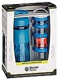 BlenderBottle Combo Pak - Sportmixer y GoStak 4Pak con una práctica asa de transporte y un empaque de regalo atractivo - cyan