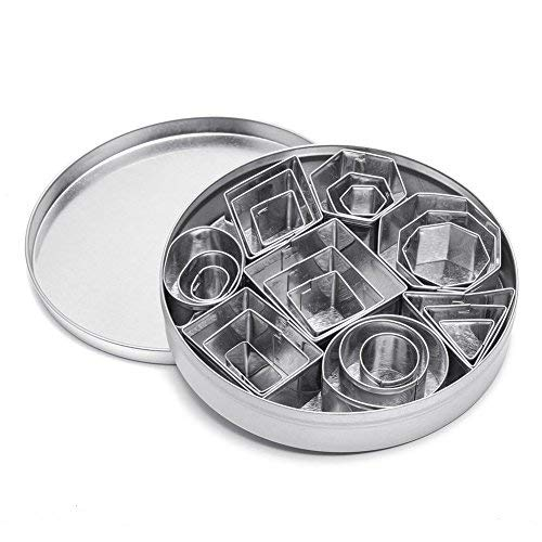 Cookie Cutter Set, Geometric Shapes Cutters, Metal Fondant Cutters Including Hexagon, Square, Circle, Oval, Octagon, Diamond Molds for Pastry, Fondant, Donuts, Clay, for Kitchen, Baking, Stainless
