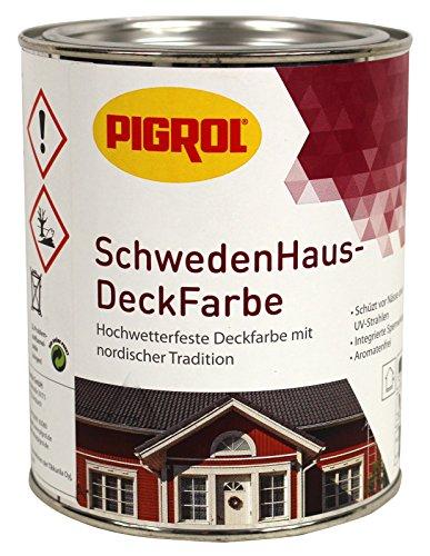 Pigrol Schwedenhaus-Deckfarbe, grün, 0,75L Wetterschutzfarbe Holzfarbe für aussen