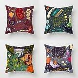 LYX Harry Potter Almohada, melocotón Almohada Almohada Cojín Almohada Almohada melocotón Throw Almohada decoración casera (4pcs) (Color : 4 Pack)