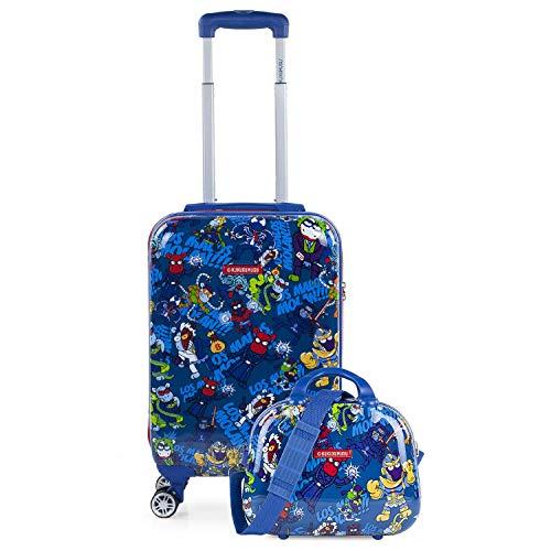KUKUXUMUSU - Juego Maleta Cabina y Neceser 2 pzs, Maleta pequeña 20'(55x40x20 cm), abs, rígidas, s y duraderas, 4 Ruedas, cómodas y Ligeras, candado combinación 131250b, Color Azul