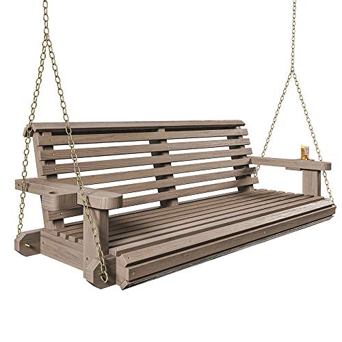 Porchgate Amish Heavy Duty 800 Lb Roll Comfort Treated Porch Swing W/ Chains (5 Foot, Warm Walnut Stain)