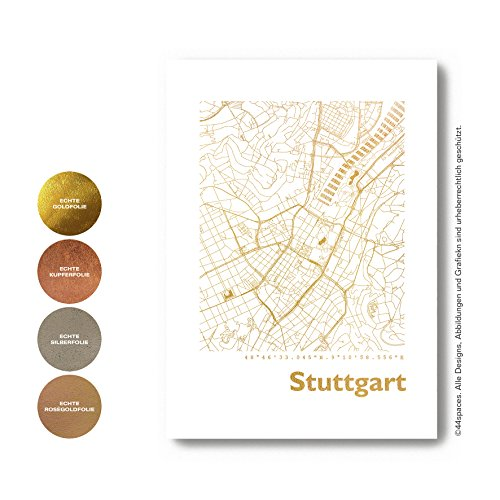 Stuttgart Karte - Lieblingsorte für die Wand in S/W Rose Gold Silber Kupfer A4 A3 - Stylische Wandbilder Geschenke Arbeitszimmer Wohnzimmer Andenken Heimatstadt