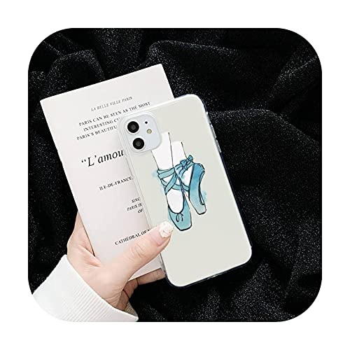 Linda dibujos animados arte colorido bailarina teléfono cajas transparente para iPhone 6 7 8 11 12 s mini pro X XS XR MAX Plus cubierta funda-a11-iphone 12 or12pro