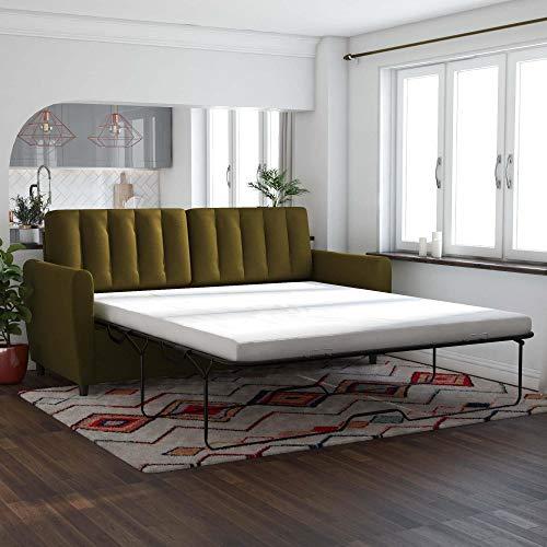 Novogratz Brittany Sleeper Sofa with Memory Foam Mattress, Green Linen, Queen