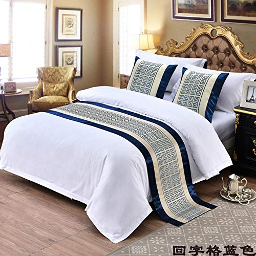 YYSWIM Bed Runner Scarf Bed Flag star hotel with bed towel, three-dimensional pattern bed flag, bed cover, bed end decoration, strip & Back character grid blue@ 2 M bed 50 x 260CM