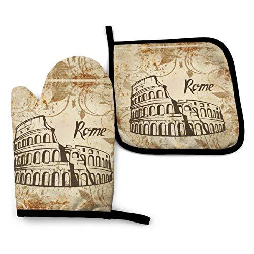 AEMAPE Rome Colosseum - Juego de Manoplas y Soporte para ollas, Guante de Horno, Almohadilla Resistente al Calor para ollas, para Hornear en la Cocina, Barbacoa