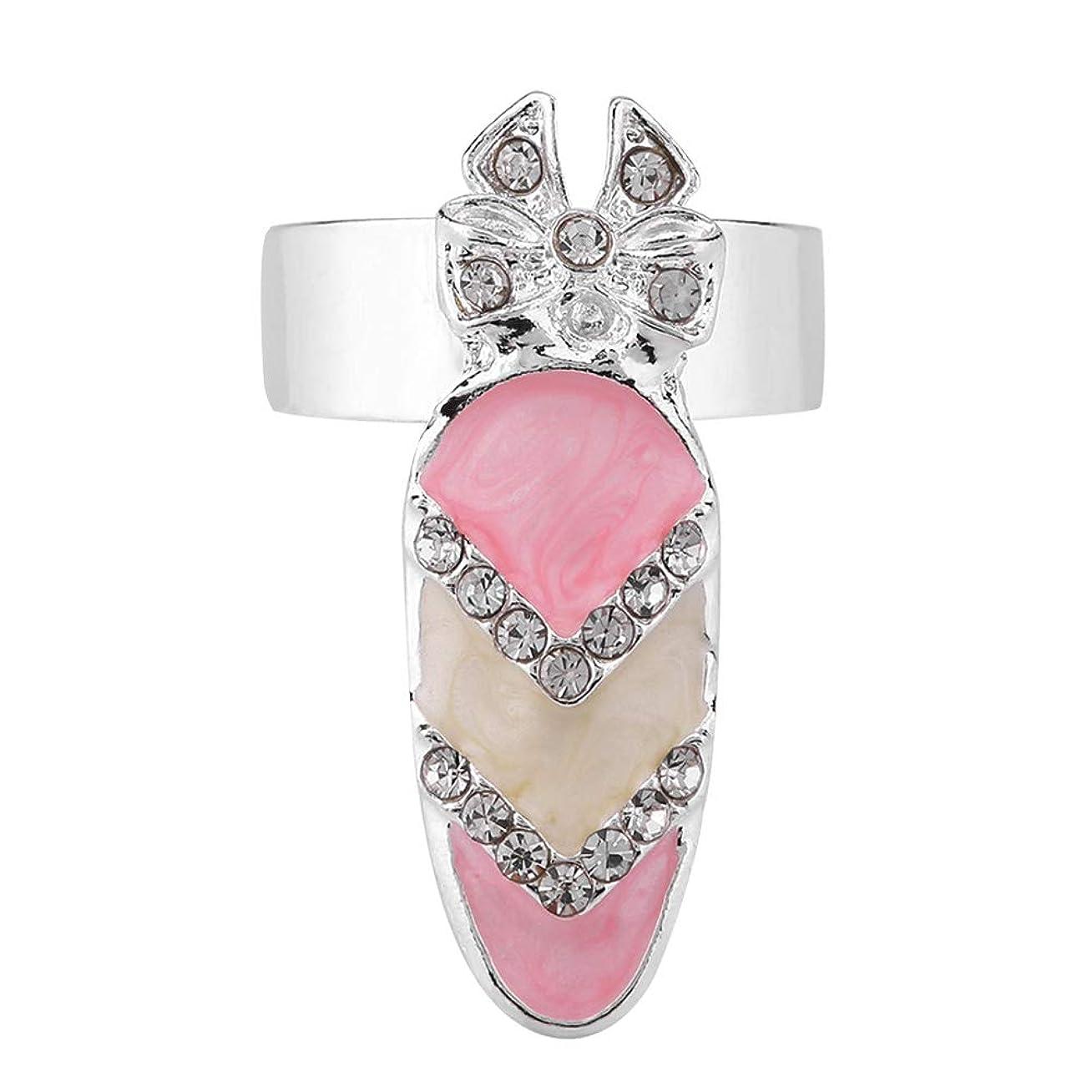 数字泥だらけ過言Semmeちょう結びのナックルの釘のリング、指の釘の指輪6種類のちょう結びの水晶指の釘の芸術のリングの女性の贅沢な指の釘のリングの方法ちょう結びの釘の釘のリングの装飾(5#)