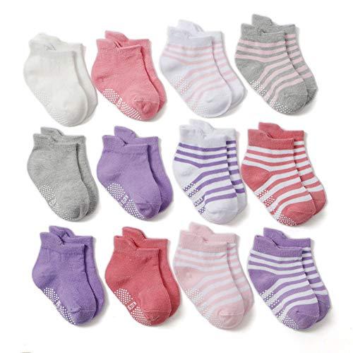 Z-Chen Calcetines Antideslizantes para Bebé Niños (Pack de 12 Pares), Niñas, 1-3 Años