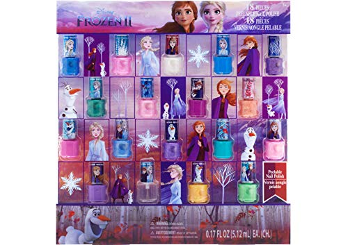 Townley Girl Disney Frozen NonToxic PeelOff Nail Polish Set for Girls Glittery and Opaque Colors Ages 3  18 Pack