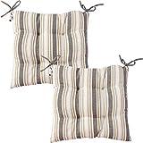 Viste tu hogar Pack 2 Cojines para Silla, 40x40 CM, Relleno de Algodón con Diseño de Rayas, Cómodas y Suaves, Ideal para la Decoración de Cocina y Sala, Color Gris.