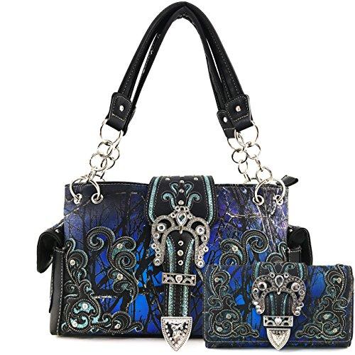Justin West Camouflage Tree Bling Rhinestone Angel Wing Cross Shoulder Concealed Carry Handbag Purse (Blue Handbag Wallet Set)