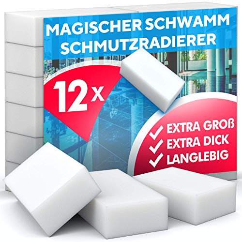 Loomiloo Esponja de alta densidad para eliminar la suciedad, esponjas de melamina de alta densidad, limpieza solo con agua, fuerte poder de limpieza, uso universal – Magic Dirt Eraser