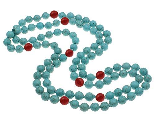TreasureBay - Collana da donna, 3 in 1, 10 mm, con pietre naturali, 120 cm (turchese blu/rosso)