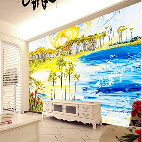 Shuangklei aangepaste fresco behang elke voet mode romantische kleurrijke abstract strand bloem boom bomen 400x280cm