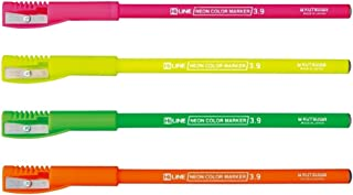Kutsuwa Fluorescent Color Pencil (4 colors set), with Sharpener Cap