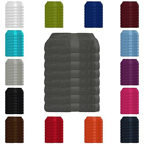 8 tlg. Handtuch-Set in vielen Farben - 8 Handtücher 50x100 cm - Farbe anthrazit