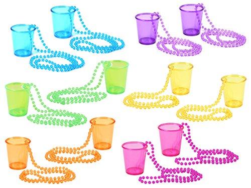 Alsino 12er Set Schnapsglas Shotglas Shotbecher mit Kette - Durchmesser: 5 cm, Höhe: 6 cm - Länge der Kette: 36 cm