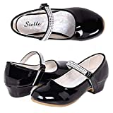 Stelle Girls Mary Jane Shoes Low Heel Party Dress Shoes for Kids (2ML, T02-Black)