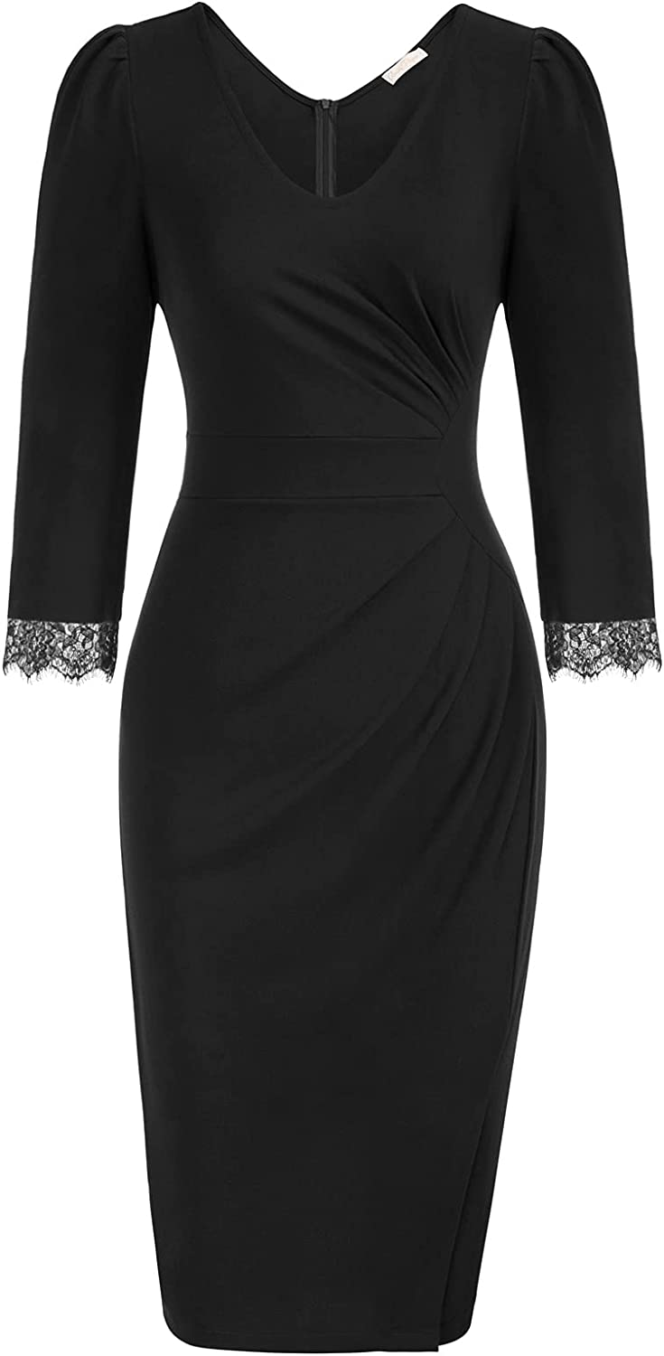 Belle Poque Women 3/4 Sleeve Work Dress Ruched Bodycon Business Party Dress