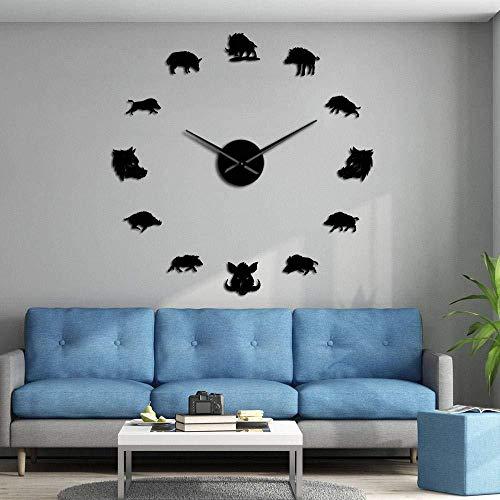 DIY Muur Klok Boar Varken welp Knorretje Oversized 3D Muur Klok Wild Animal Woodland Dier Muur Ophangen Art Decoratie Klok Band Spiegel Effect 37inch Zwart