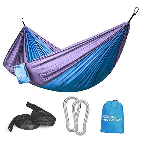 Forbidden Road Hammock Single Double Camping Lightweight Portable Hammock for Outdoor Hiking Travel Backpacking - Nylon Hammock Swing - Support 400lbs Ropes Carabineers (Blue Purple)