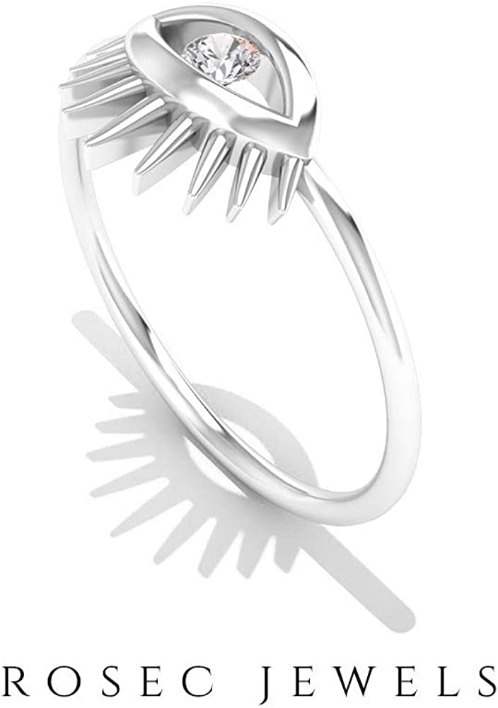 Solitaire Brilliant 2.5 MM Round Certified Diamond Women Cute Ring, Solid Gold Engraved Eye Design Statement Rings, Birthday Anniversary Diamond Rings, 14K Gold