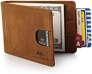 Men's Genuine Leather RFID Blocking Wallet With Money Clip For Men Father Husband Boyfriend Slim Bifold Profile