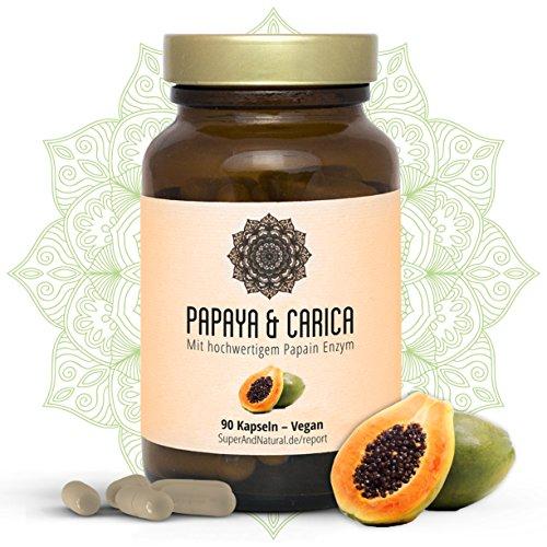 Papain Kapseln I Vegan I Papaya & Carica I Hochwertiges Papaya Extrakt I 90 Stück I Superfood I Natürliche Verdauung Und Ein Starkes Immunsystem I By Super & Natural