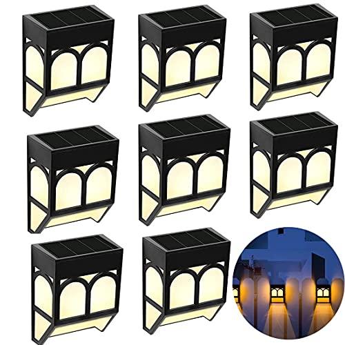 Justn Luz solar para escaleras, 8 unidades, exterior, jardín, lámpara de pared IP65, resistente al agua, luz solar 2 modos LED blanco cálido/cambio de color (8 unidades)