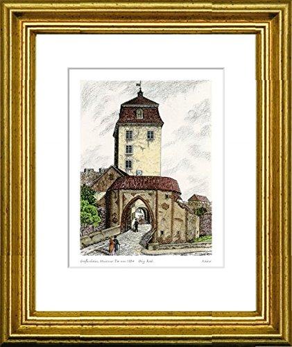 Kunstverlag Christoph Falk Handkolorierte Radierung Großenhain, Meissner Tor um 1834 im Rahmen Gold hinter Passepartout