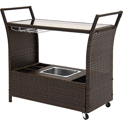 Best Choice Products Rolling Outdoor Wicker Bar Cart w/Removable Ice Bucket, Glass Countertop, Wine Glass Holders, and Storage Compartments, Brown