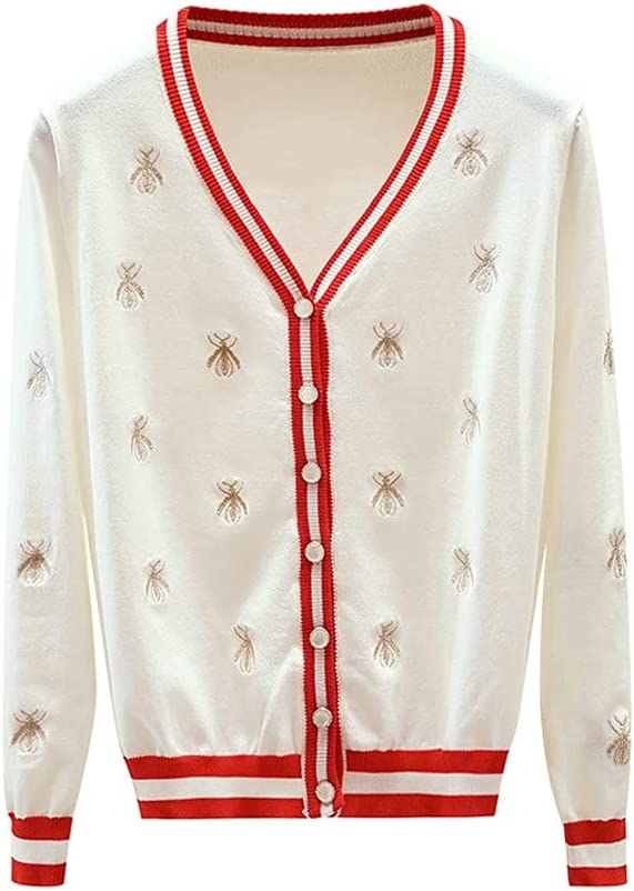 Selling and selling CDQYA Sweater Fashion Designer Bee Slee Excellence Embroidery Cardigan Long