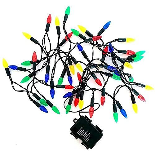 YuKeShop 16 pies de fresa de Navidad 50LED cadena de luz de hadas guirnalda con pilas para fiesta de Navidad jardín y decoración interior al aire libre