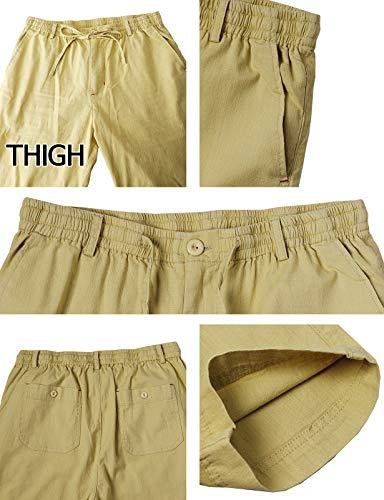 H2H Men's Casual Trousers Linen Summer Beach Drawstring Pants