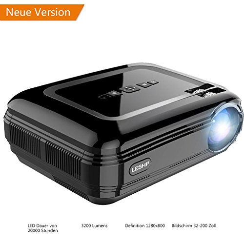 LESHP Vidéoprojecteur Projecteur Multimédia avec HDMI & AV Câble Full HD 1080P LCD 1280 x 1920 720P Support TV, Smartphone, PC, USB, VGA, SD (Noir)
