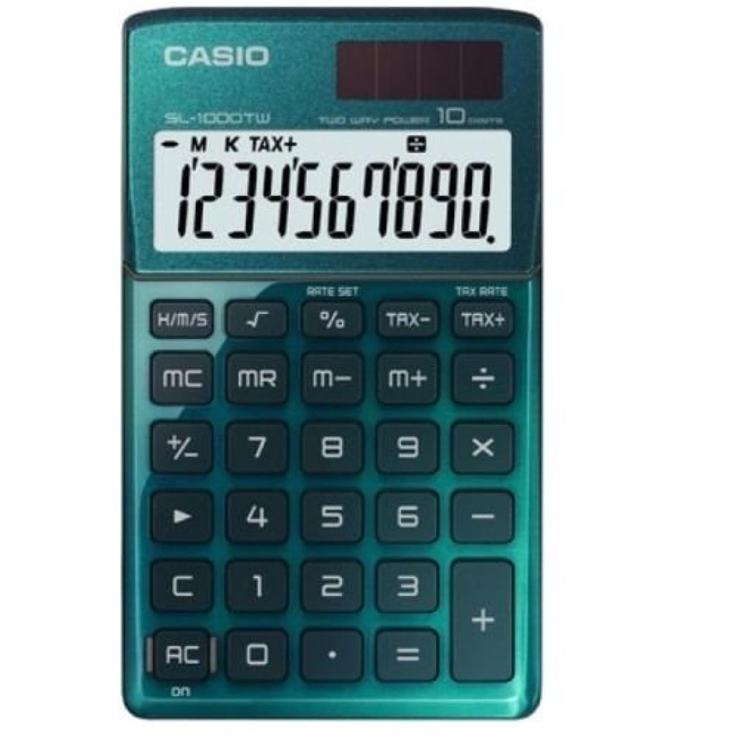 休み王女くまCasio SL-1000TW-GN デスク電卓10桁ビッグLC-表示 SL1000TW グリーン [並行輸入品]