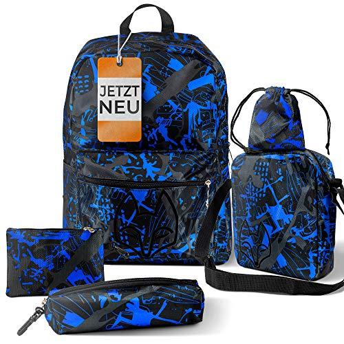Juego de 5 mochilas escolares Zafox para niños y adolescentes con bolsa de aventura, juego para la escuela y el tiempo libre, a elegir la variante adecuada
