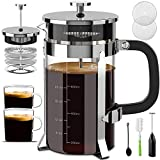 Upgraded French Press Coffee Maker Stainless Steel 34 oz, Coffee Press with Stainless Steel Stand Precise Scale Easy to Clean Durable Heat Resistant Glass Black/Copper/Silver (Silver)